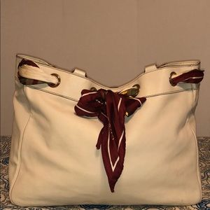 GUCCI Ivory Leather Large Positano Tote Bag